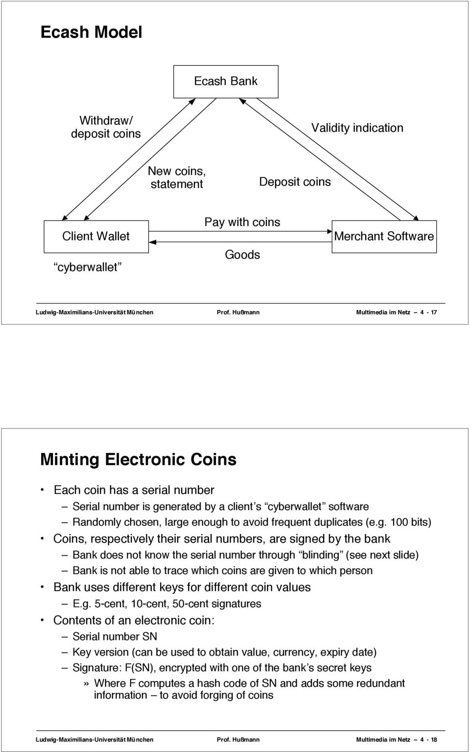 Hußmann Multimedia im Netz 4-17 Minting Electronic Coins Each coin has a serial number Serial number is generated by a client s cyberwallet software Randomly chosen, large enough to avoid frequent