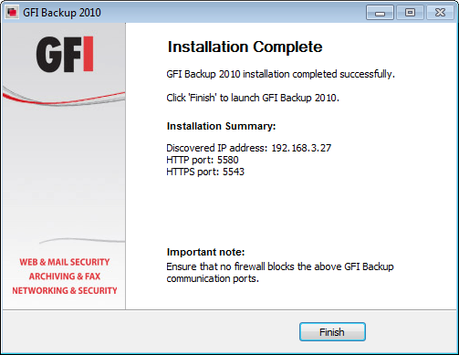 Screenshot 4 - GFI Backup Administration Console installation: Installation summary 8.