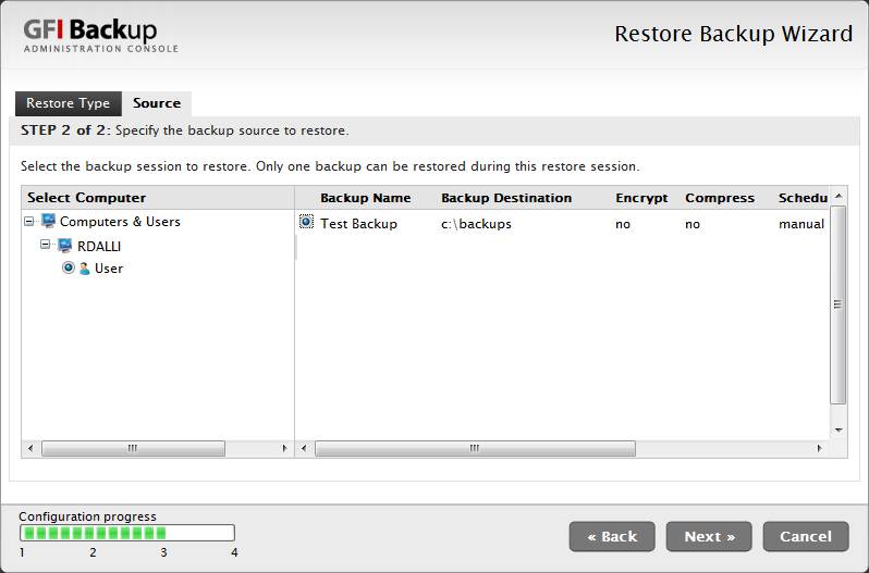 Screenshot 18 - Restore task: Select computer and backup to restore 5. From the Select Computer list, select the computers for which to restore data. E.g., Select local computer. 6.