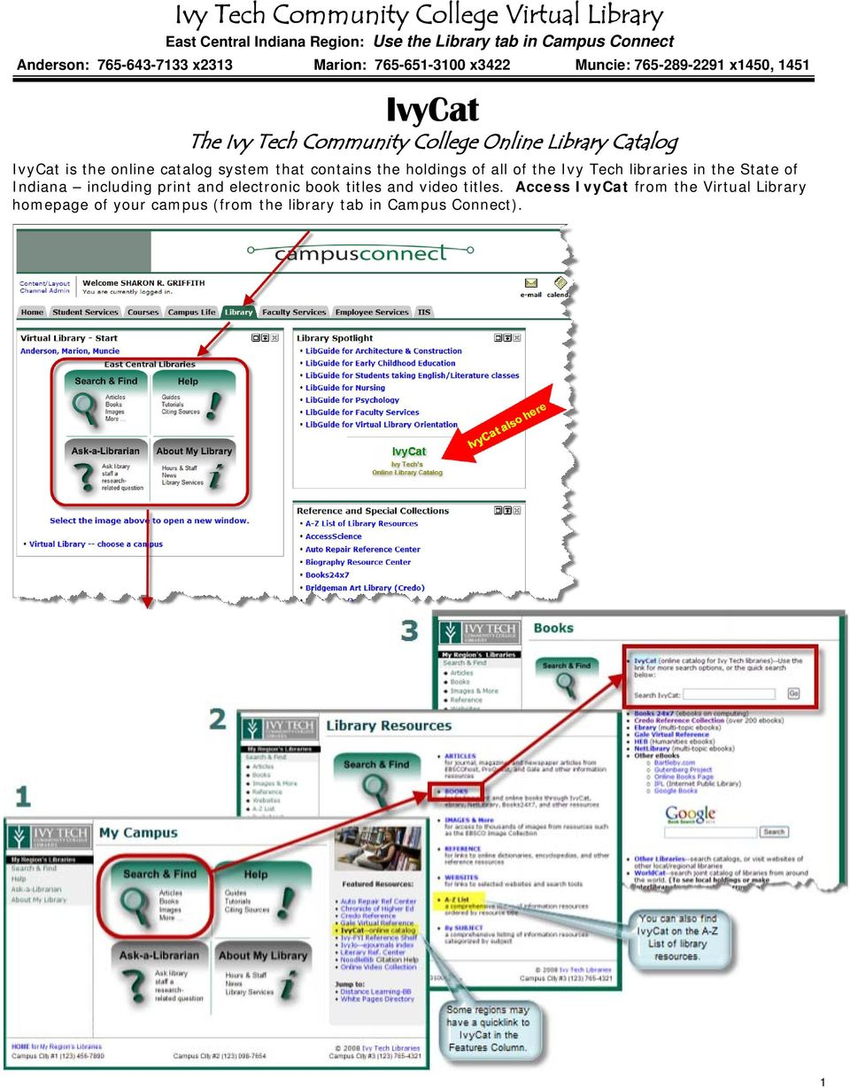 the online catalog system that contains the holdings of all of the Ivy Tech libraries in the State of Indiana including print and