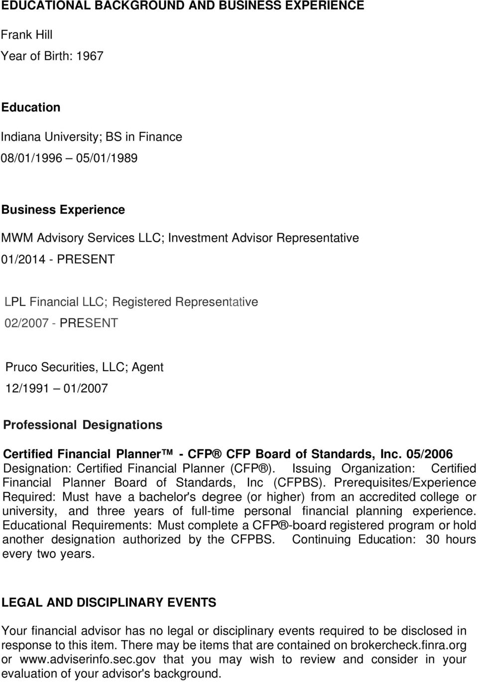 Financial Planner - CFP CFP Board of Standards, Inc. 05/2006 Designation: Certified Financial Planner (CFP ). Issuing Organization: Certified Financial Planner Board of Standards, Inc (CFPBS).