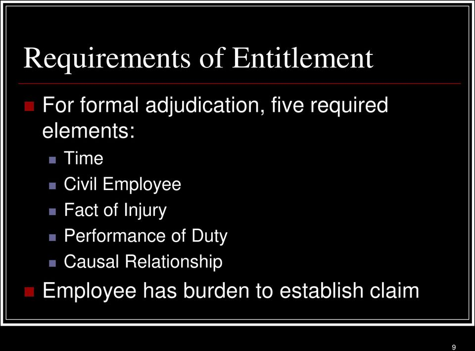 Civil Employee Fact of Injury Performance of