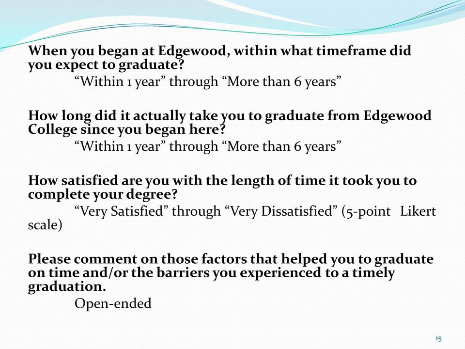 Within 1 year through More than 6 years How satisfied are you with the length of time it took you to complete your degree?