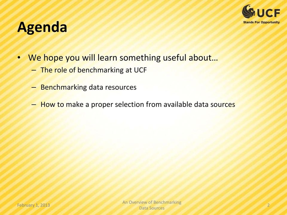 UCF Benchmarking data resources How to make