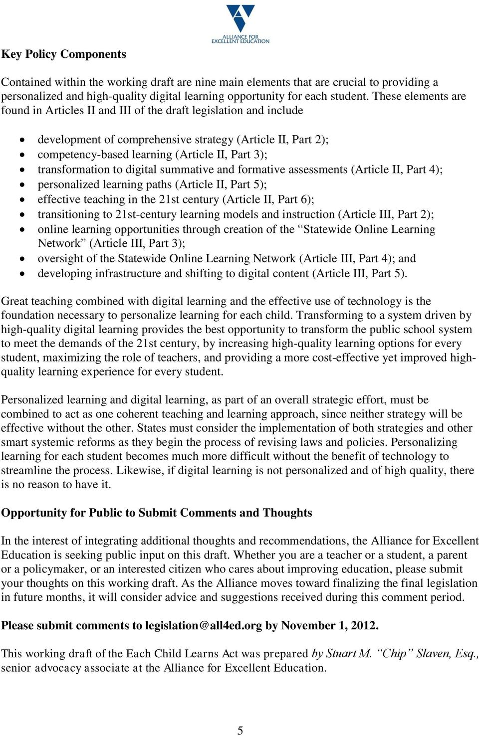 transformation to digital summative and formative assessments (Article II, Part 4); personalized learning paths (Article II, Part 5); effective teaching in the 21st century (Article II, Part 6);