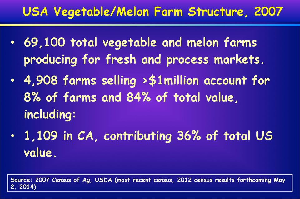4,908 farms selling >$1million account for 8% of farms and 84% of total value, including: