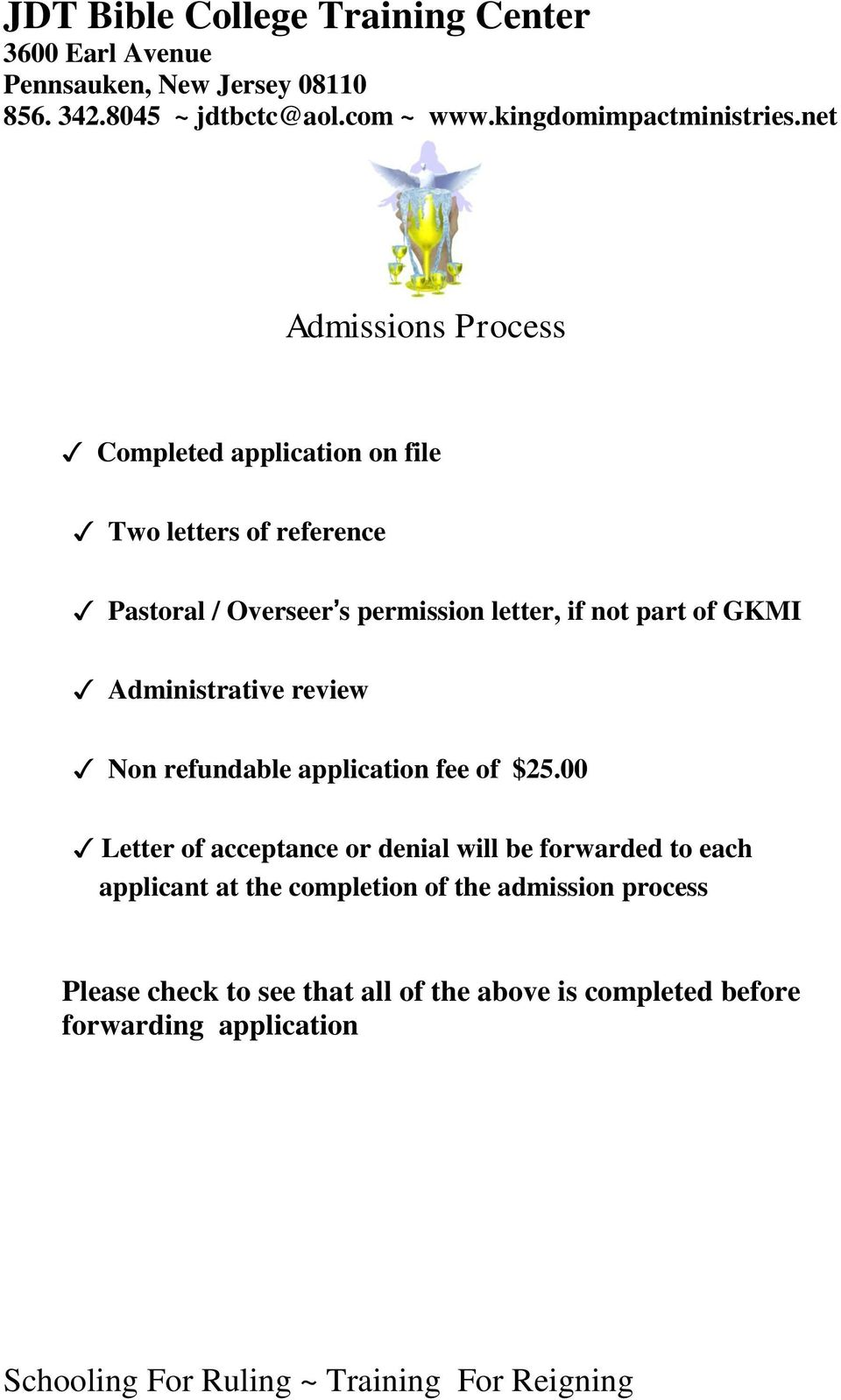 part of GKMI Administrative review Non refundable application fee of $25.