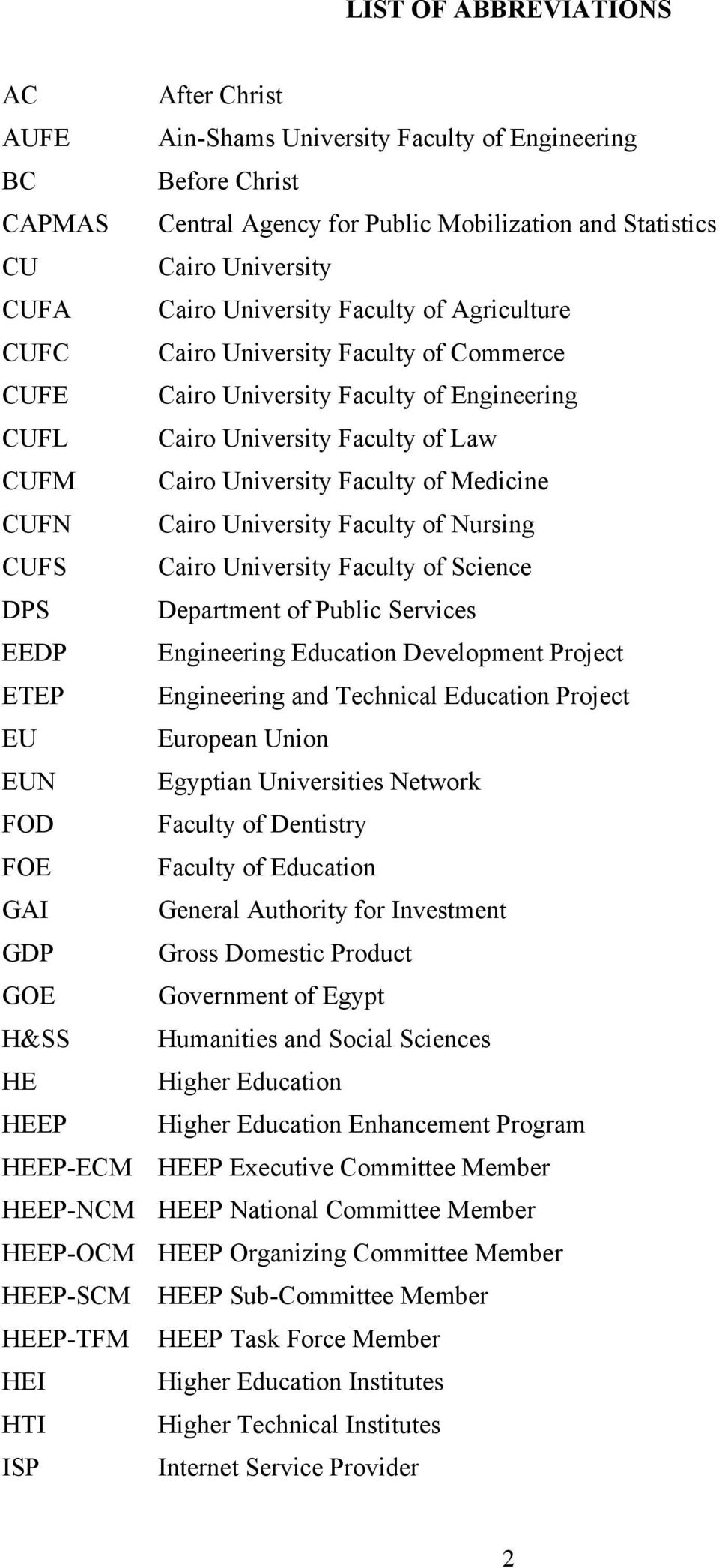 CUFN Cairo University Faculty of Nursing CUFS Cairo University Faculty of Science DPS Department of Public Services EEDP Engineering Education Development Project ETEP Engineering and Technical