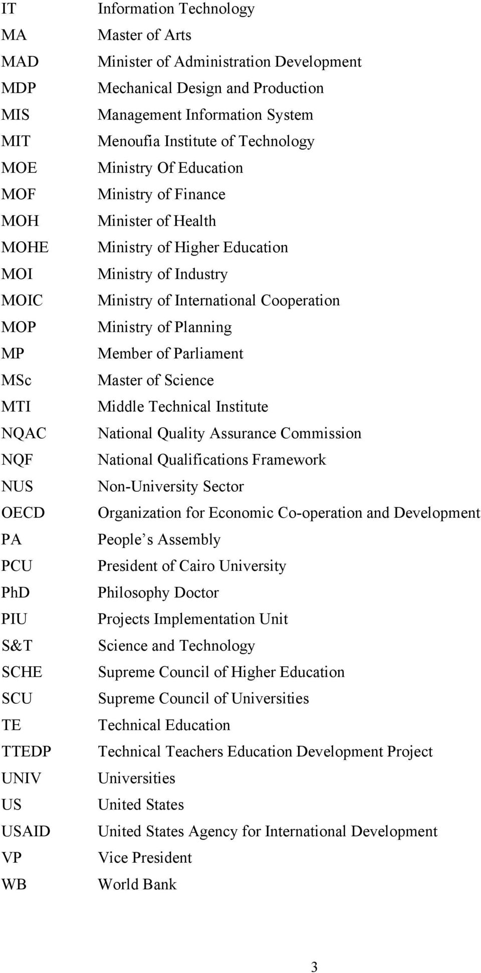 Higher Education Ministry of Industry Ministry of International Cooperation Ministry of Planning Member of Parliament Master of Science Middle Technical Institute National Quality Assurance