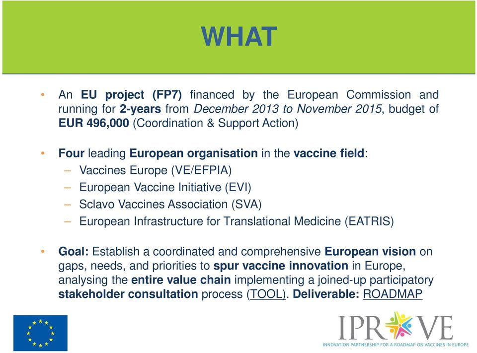 (SVA) European Infrastructure for Translational Medicine (EATRIS) Goal: Establish a coordinated and comprehensive European vision on gaps, needs, and priorities to