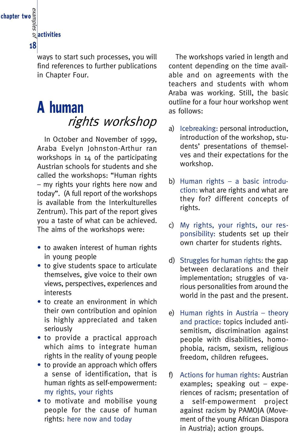 my rights your rights here now and today. (A full report of the workshops is available from the Interkulturelles Zentrum). This part of the report gives you a taste of what can be achieved.