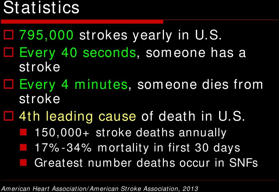 150,000+ stroke deaths annually 17%-34% mortality in first 30 days Greatest