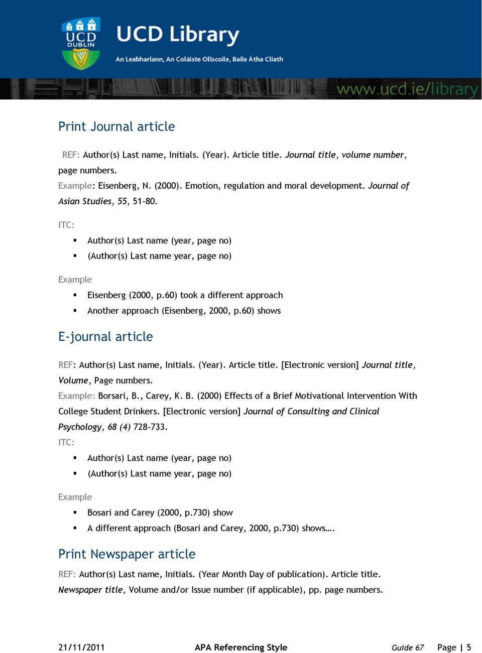 60) shows E-journal article REF: Author(s) Last name, Initials. (Year). Article title. [Electronic version] Journal title, Volume, Page numbers. : Bo