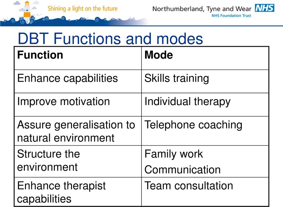 environment Enhance therapist capabilities Skills training Individual