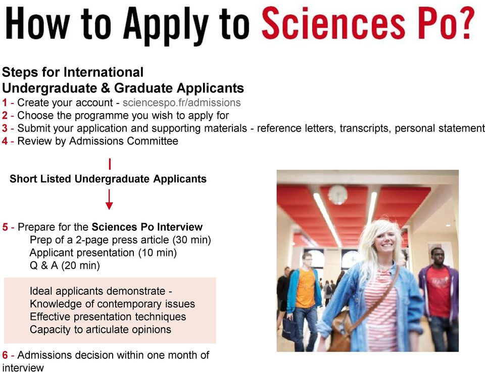 statement 4 - Review by Admissions Committee Short Listed Undergraduate Applicants 5 - Prepare for the Sciences Po Interview Prep of a 2-page press article (30