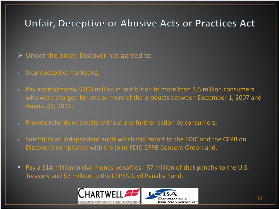 any further action by consumers; Submit to an independent audit which will report to the FDIC and the CFPB on Discover s s compliance with the joint