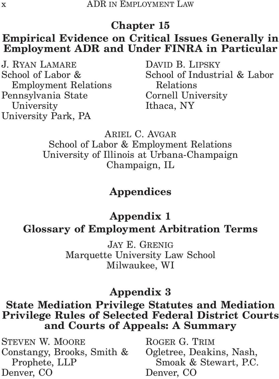 Avgar School of Labor & Employment Relations University of Illinois at Urbana-Champaign Champaign, IL Appendices Appendix 1 Glossary of Employment Arbitration Terms Jay E.