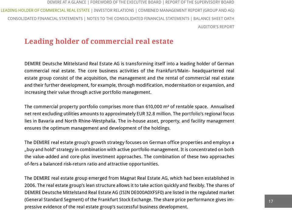 transforming itself into a leading holder of German commercial real estate.