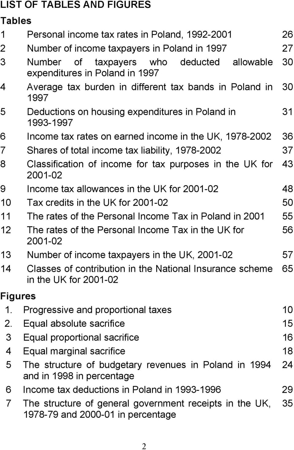36 7 Shares of total income tax liability, 1978-2002 37 8 Classification of income for tax purposes in the UK for 43 2001-02 9 Income tax allowances in the UK for 2001-02 48 10 Tax credits in the UK