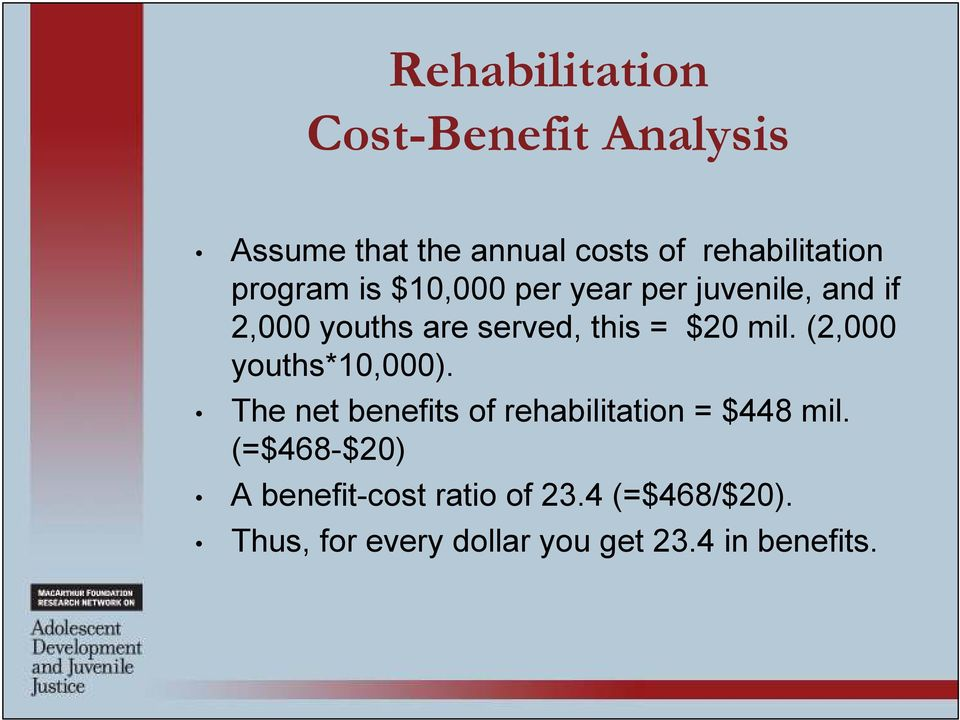 mil. (2,000 youths*10,000). The net benefits of rehabilitation = $448 mil.
