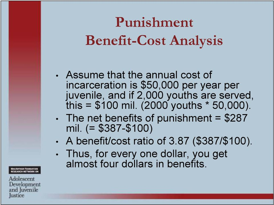 (2000 youths * 50,000). The net benefits of punishment = $287 mil.