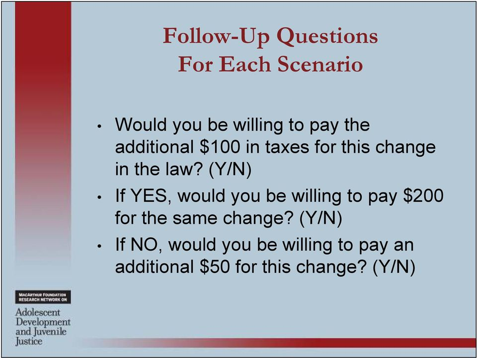 (Y/N) If YES, would you be willing to pay $200 for the same change?