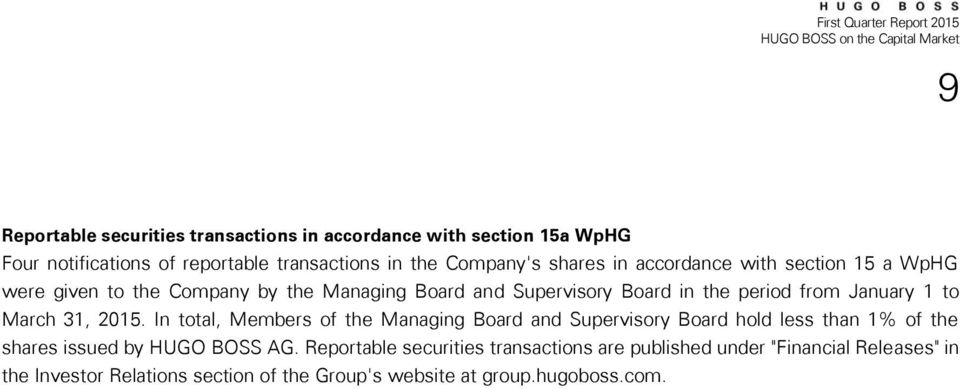 January 1 to March 31, 2015. In total, Members of the Managing Board and Supervisory Board hold less than 1% of the shares issued by HUGO BOSS AG.
