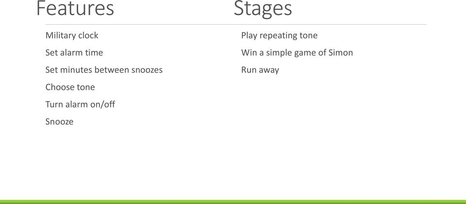 Turn alarm on/off Snooze Stages Play