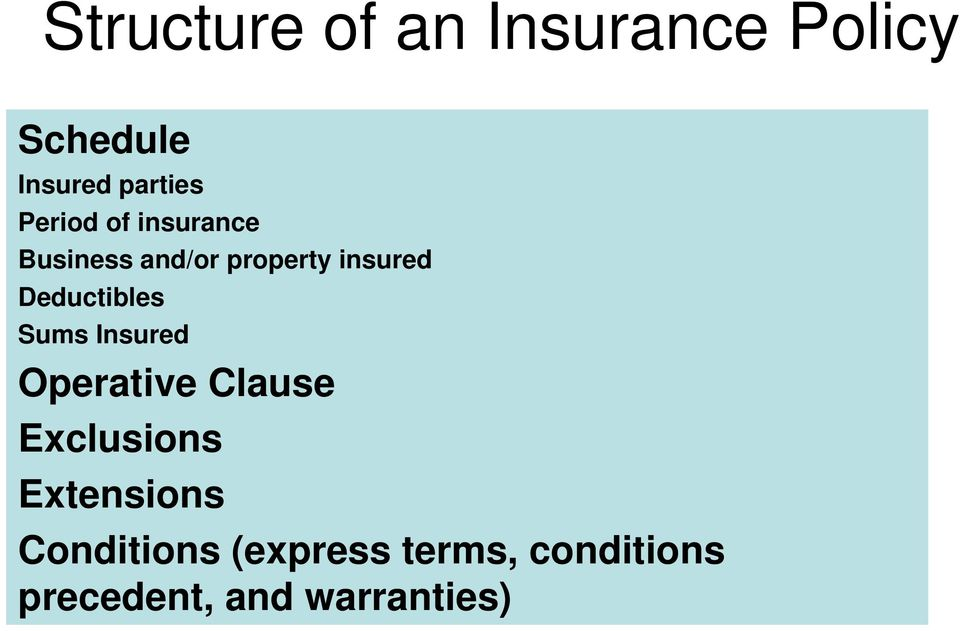 Deductibles Sums Insured Operative Clause Exclusions