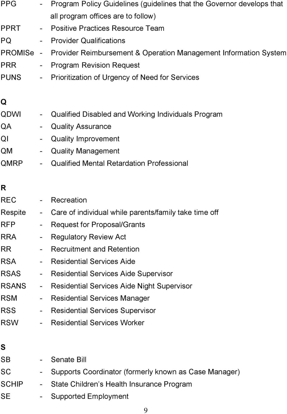 Program QA - Quality Assurance QI - Quality Improvement QM - Quality Management QMRP - Qualified Mental Retardation Professional R REC - Recreation Respite - Care of individual while parents/family