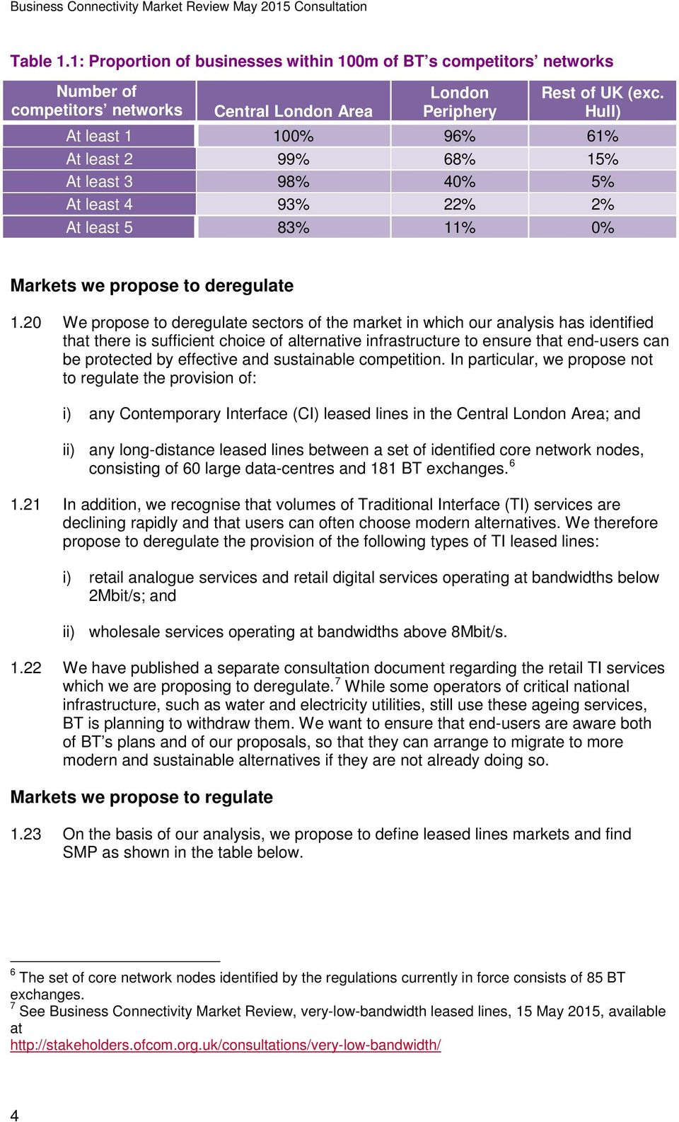 20 We propose to deregulate sectors of the market in which our analysis has identified that there is sufficient choice of alternative infrastructure to ensure that end-users can be protected by