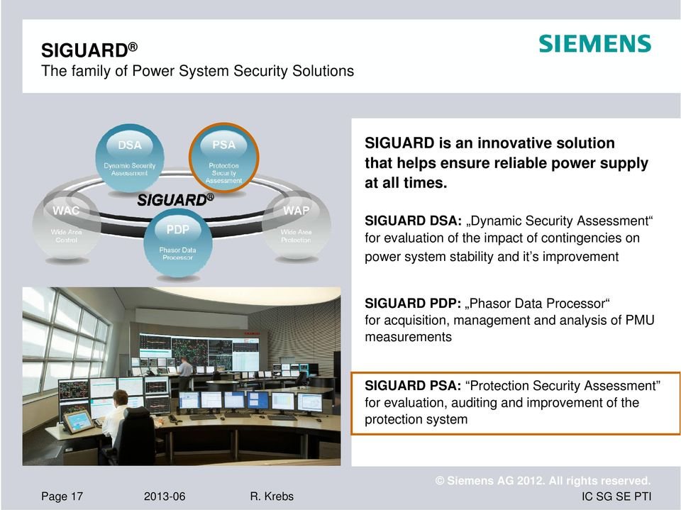 SIGUARD DSA: Dynamic Security Assessment for evaluation of the impact of contingencies on power system stability and it s