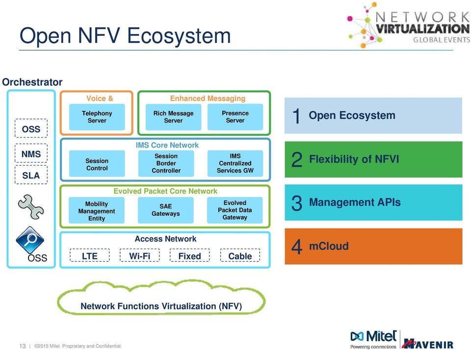 of NFVI Mobility Management Entity Evolved Packet Core Network SAE Gateways Evolved Packet Data Gateway 3 Management APIs OSS