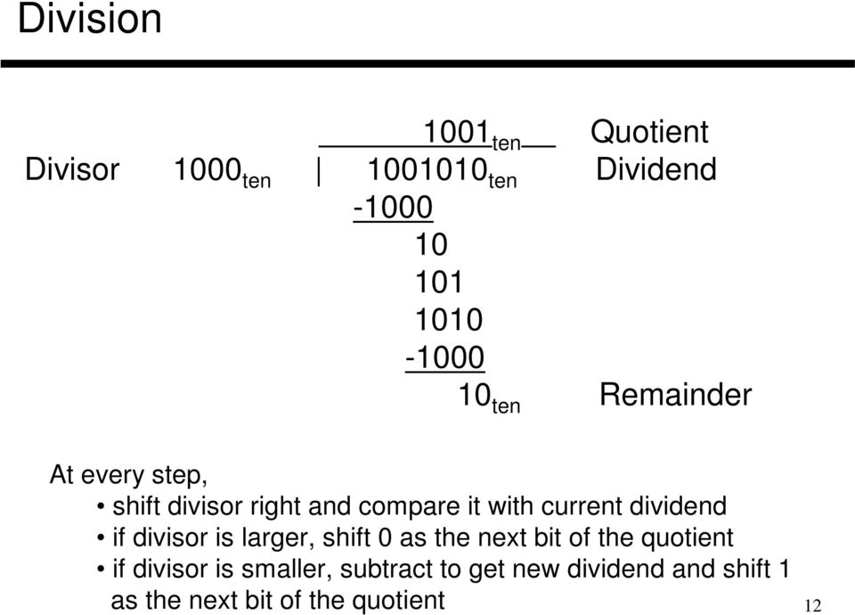 current dividend if divisor is larger, shift 0 as the next bit of the quotient if
