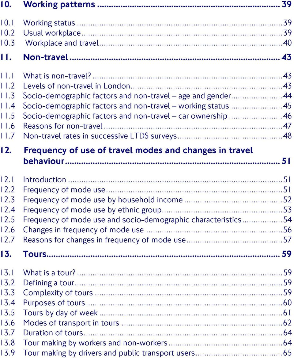 .. 46 11.6 Reasons for non-travel... 47 11.7 Non-travel rates in successive LTDS surveys... 48 12. Frequency of use of travel modes and changes in travel behaviour... 51 12.1 Introduction... 51 12.2 Frequency of mode use.