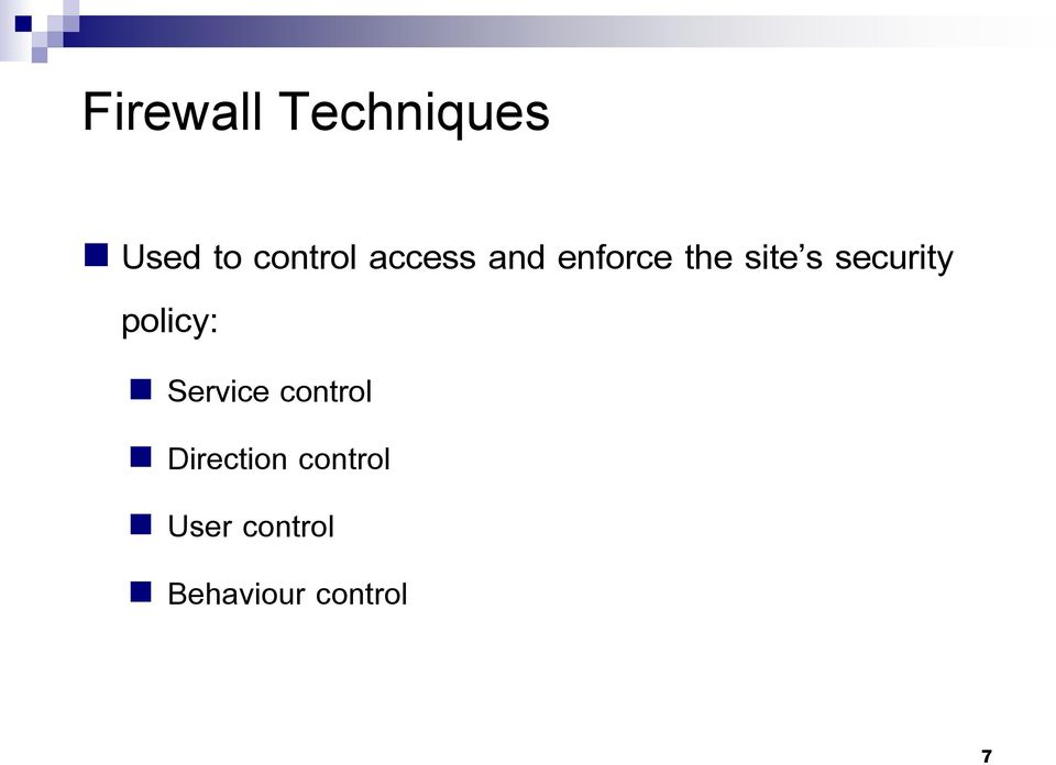 security policy: Service control