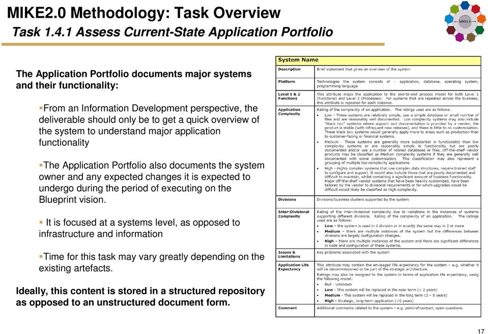 to get a quick overview of the system to understand major application functionality The Application Portfolio also documents the system owner and any expected changes it