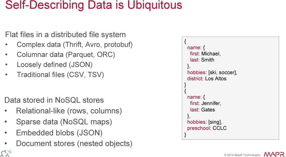 columns) Sparse data (NoSQL maps) Embedded blobs (JSON) Document stores (nested objects) { name: { first: Michael, last: