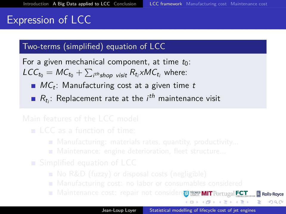 maintenance visit Main features of the LCC model LCC as a function of time: Manufacturing: materials rates, quantity, productivity.