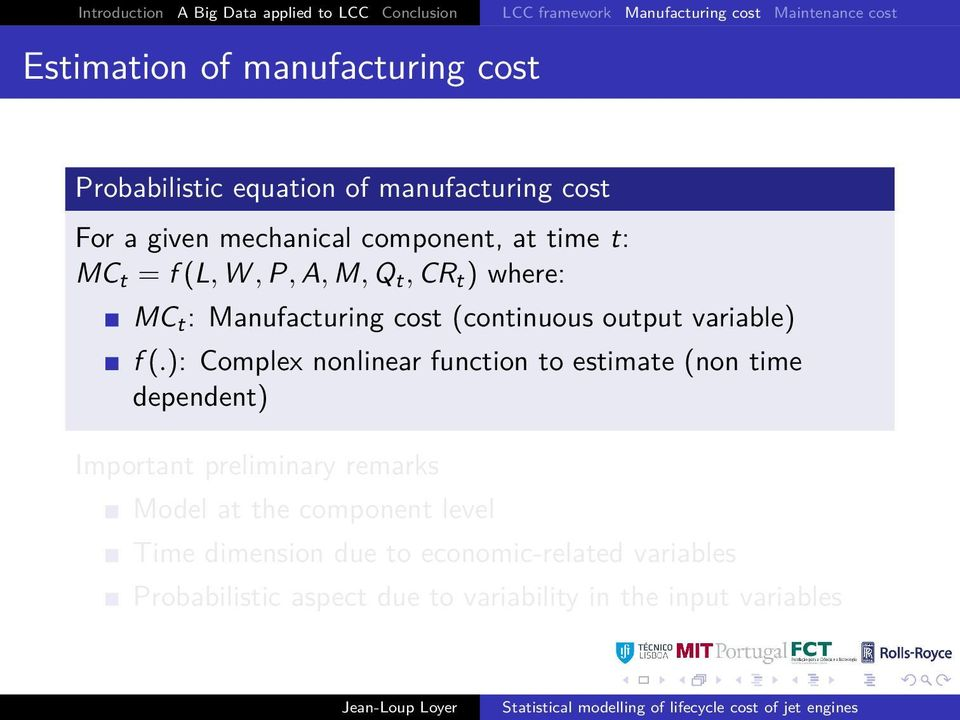 : Manufacturing cost (continuous output variable) f (.