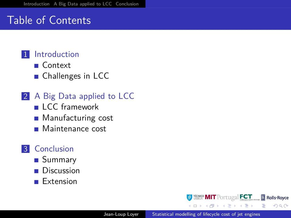 Big Data applied to LCC LCC framework Manufacturing cost