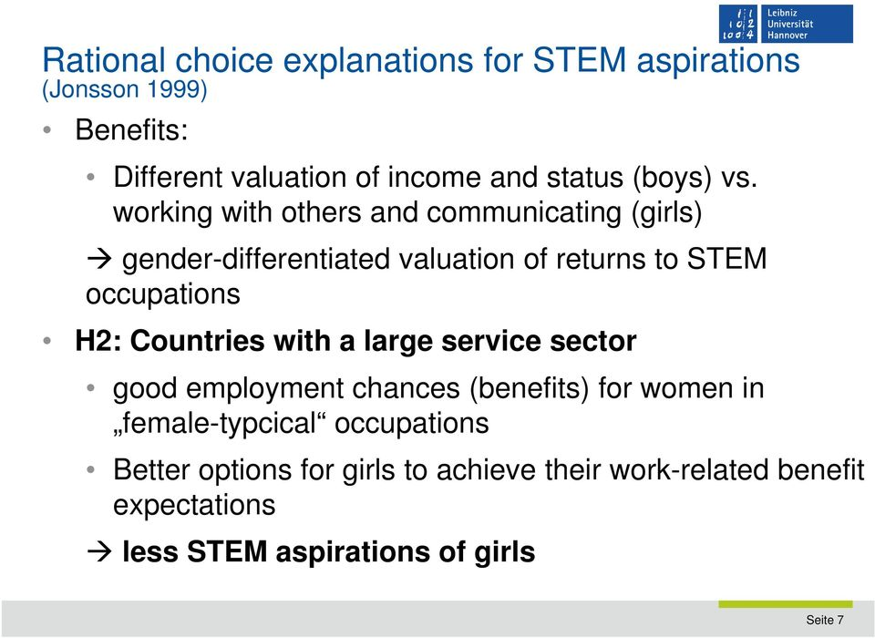 learn from Mothers working in STEM occupations same-sex role models to learn from H4: Countries with less occupational sex