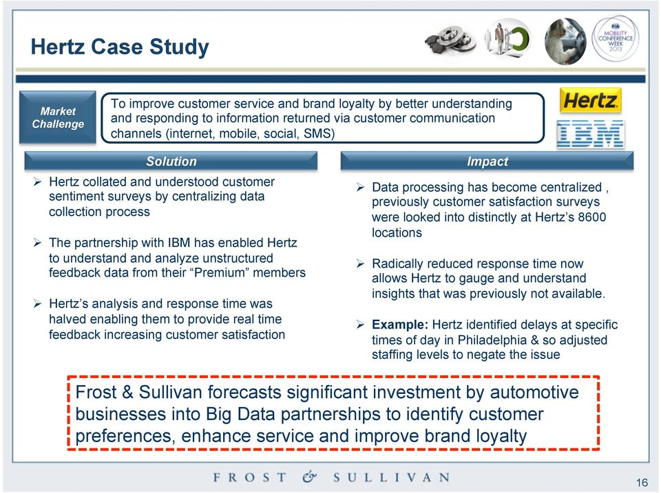 unstructured feedback data from their Premium members Ø Hertz s analysis and response time was halved enabling them to provide real time feedback increasing customer satisfaction Impact Ø Data