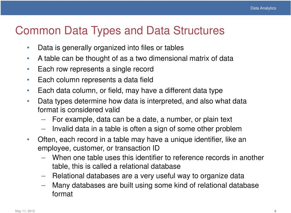 a date, a number, or plain text Invalid data in a table is often a sign of some other problem Often, each record in a table may have a unique identifier, like an employee, customer, or transaction ID