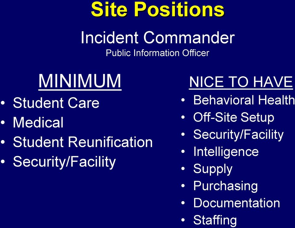 Security/Facility NICE TO HAVE Behavioral Health Off-Site