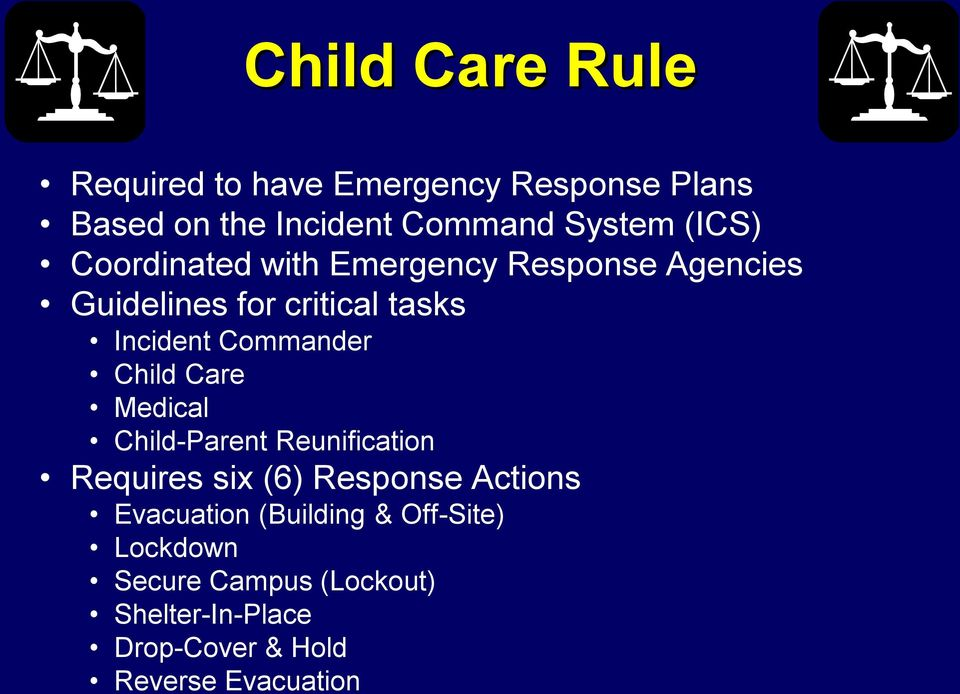 Commander Child Care Medical Child-Parent Reunification Requires six (6) Response Actions