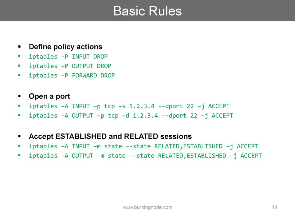 2.3.4 --dport 22 j ACCEPT Accept ESTABLISHED and RELATED sessions iptables A INPUT m state