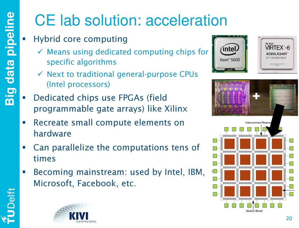 "use FPGAs (field programmable gate arrays) like Xilinx "" Recreate small compute elements on hardware "" Can"