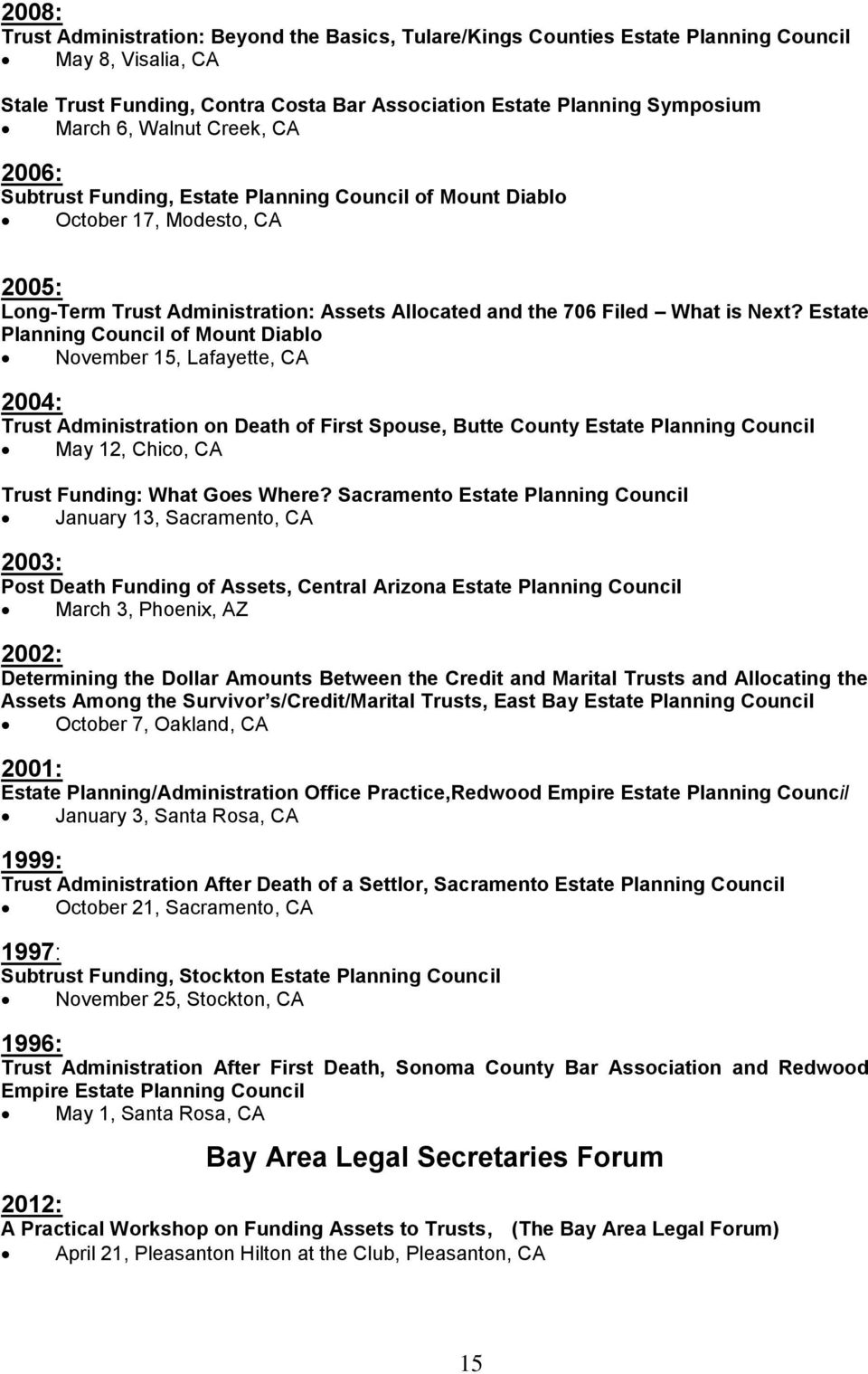 Estate Planning Council of Mount Diablo November 15, Lafayette, CA 2004: Trust Administration on Death of First Spouse, Butte County Estate Planning Council May 12, Chico, CA Trust Funding: What Goes