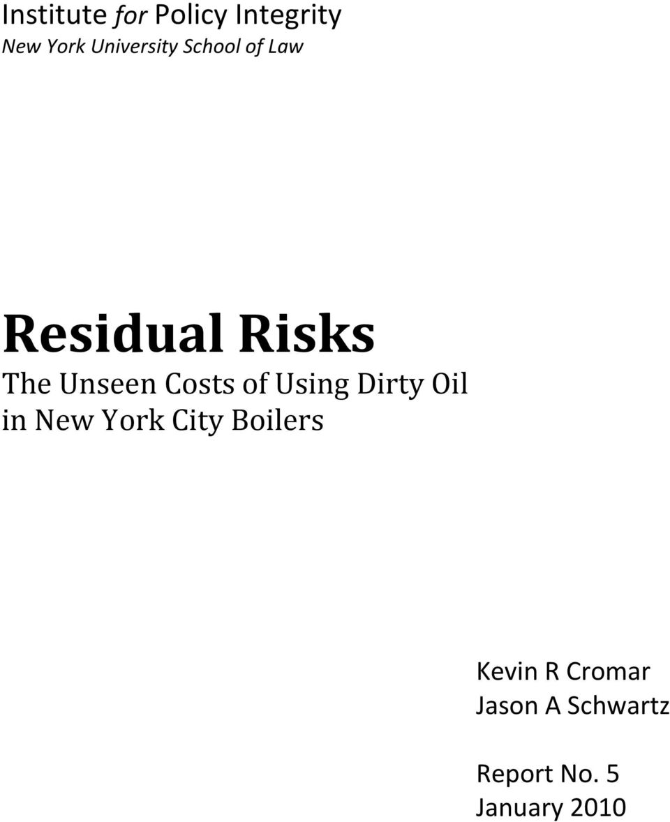 Unseen Costs of Using Dirty Oil in New York City